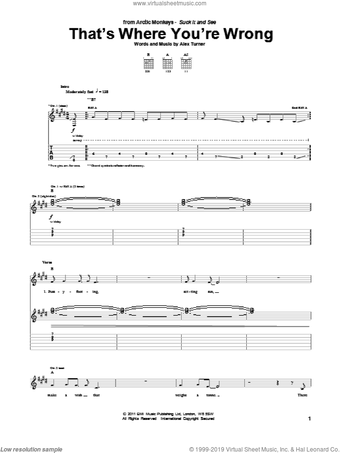 That's Where You're Wrong sheet music for guitar (tablature) by Arctic Monkeys and Alex Turner, intermediate skill level