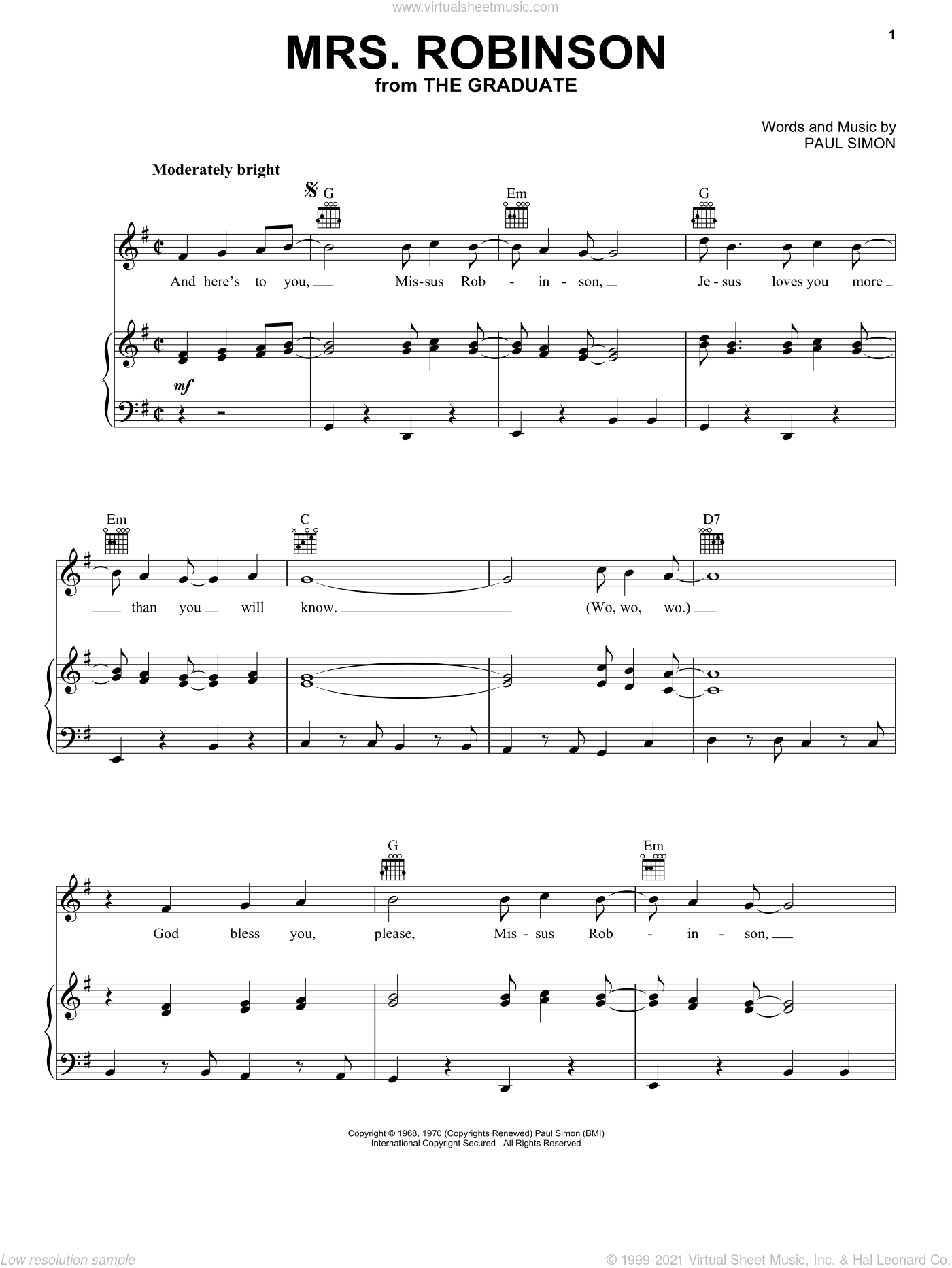 Mrs. Robinson sheet music for voice, piano or guitar by Paul Simon and Simon & Garfunkel. Score Image Preview.