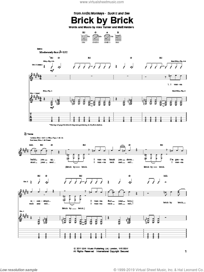 Brick By Brick sheet music for guitar (tablature) by Arctic Monkeys, Alex Turner and Matt Helders, intermediate. Score Image Preview.