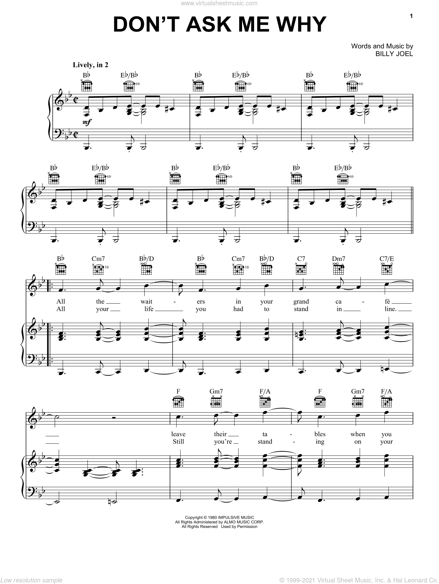Don't Ask Me Why sheet music for voice, piano or guitar by Billy Joel. Score Image Preview.