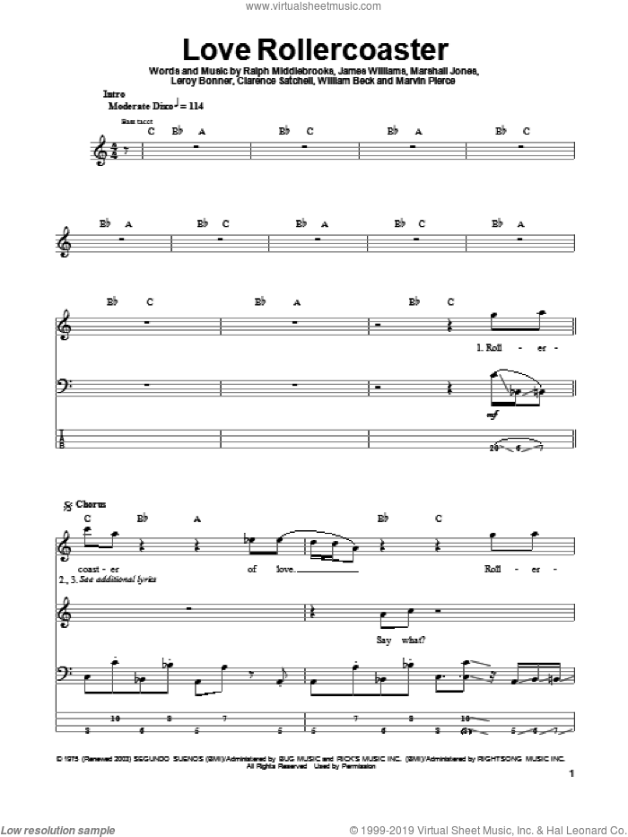 Love Rollercoaster sheet music for bass (tablature) (bass guitar) by Willie Beck, Ohio Players, Clarence Satchell, James L. Williams, Leroy Bonner, Marshall Jones, Marvin R. Pierce and Ralph Middlebrooks. Score Image Preview.