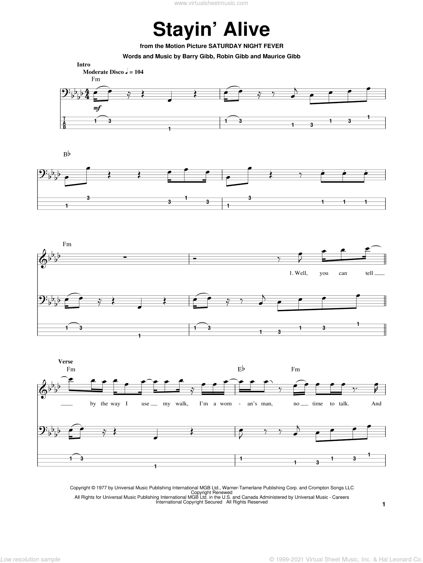 Stayin' Alive sheet music for bass (tablature) (bass guitar) by Bee Gees, Barry Gibb, Maurice Gibb and Robin Gibb, intermediate skill level