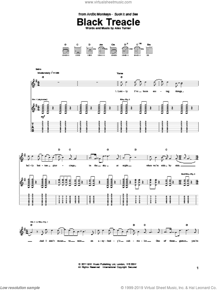 Black Treacle sheet music for guitar (tablature) by Alex Turner and Arctic Monkeys. Score Image Preview.