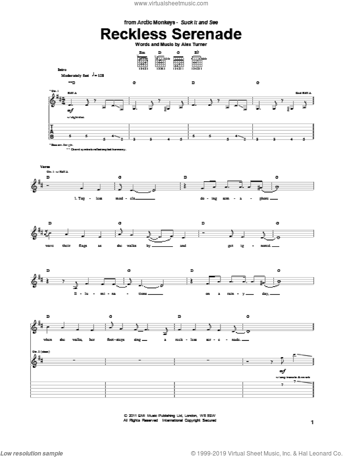 Reckless Serenade sheet music for guitar (tablature) by Alex Turner and Arctic Monkeys. Score Image Preview.