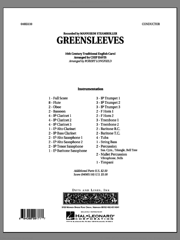Greensleeves sheet music for concert band (full score) by Chip Davis