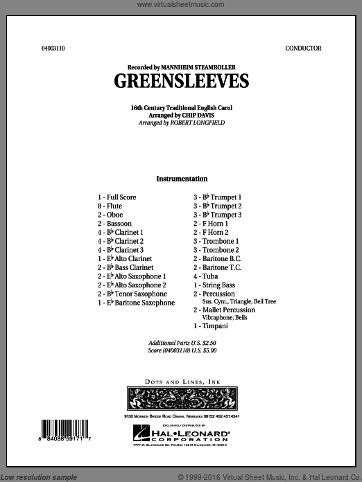 Greensleeves (COMPLETE) sheet music for concert band by Chip Davis, Mannheim Steamroller and Robert Longfield. Score Image Preview.