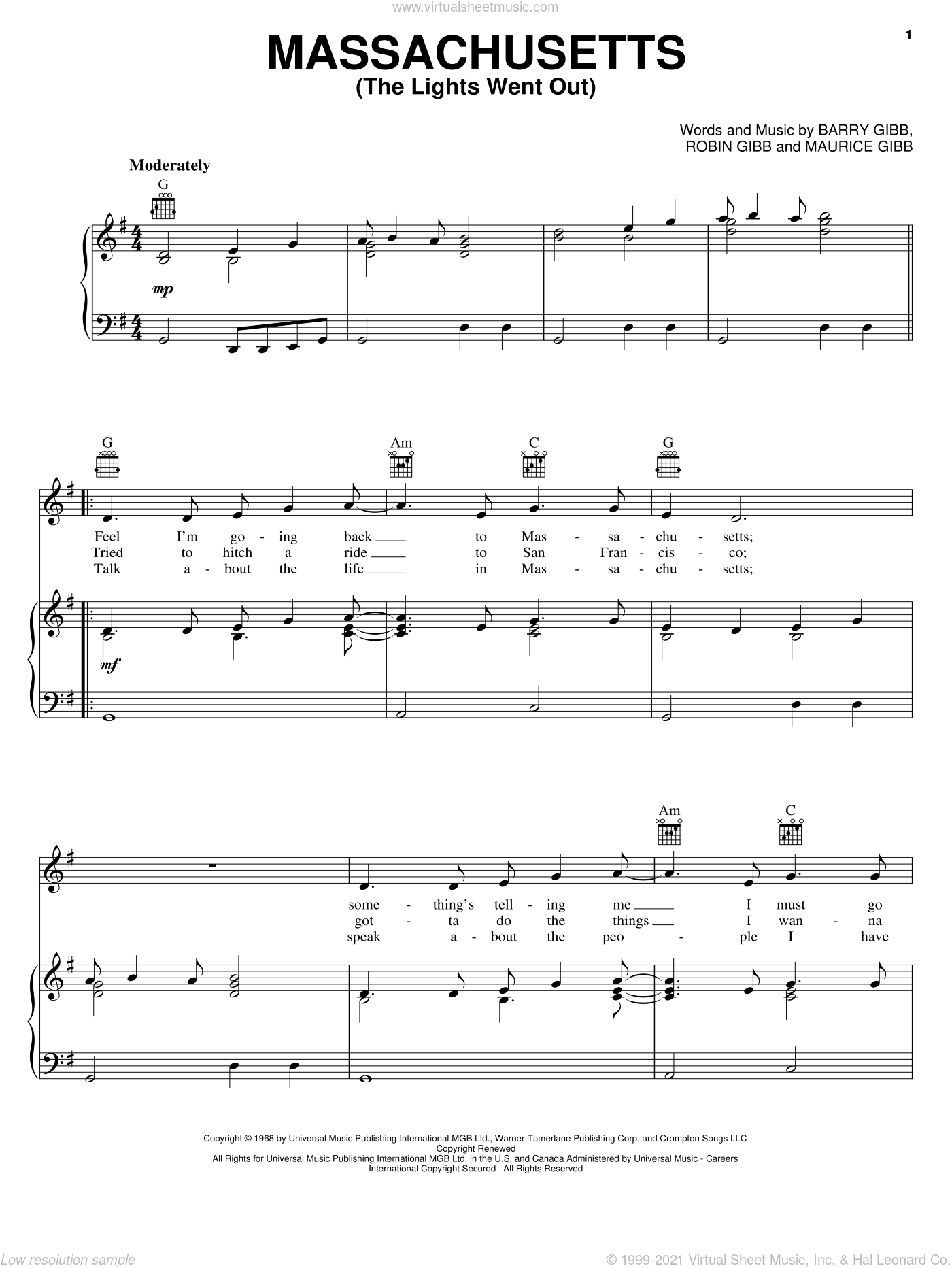 Massachusetts (The Lights Went Out) sheet music for voice, piano or guitar by Robin Gibb