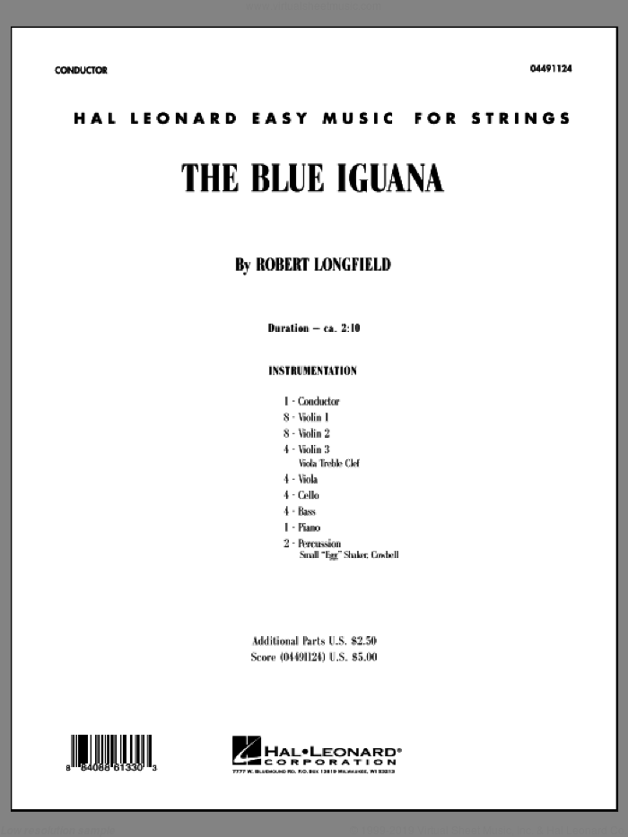 The Blue Iguana (COMPLETE) sheet music for orchestra by Robert Longfield, intermediate skill level