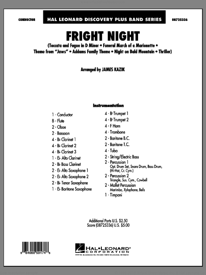 Fright Night (COMPLETE) sheet music for concert band by James Kazik, classical score, intermediate skill level