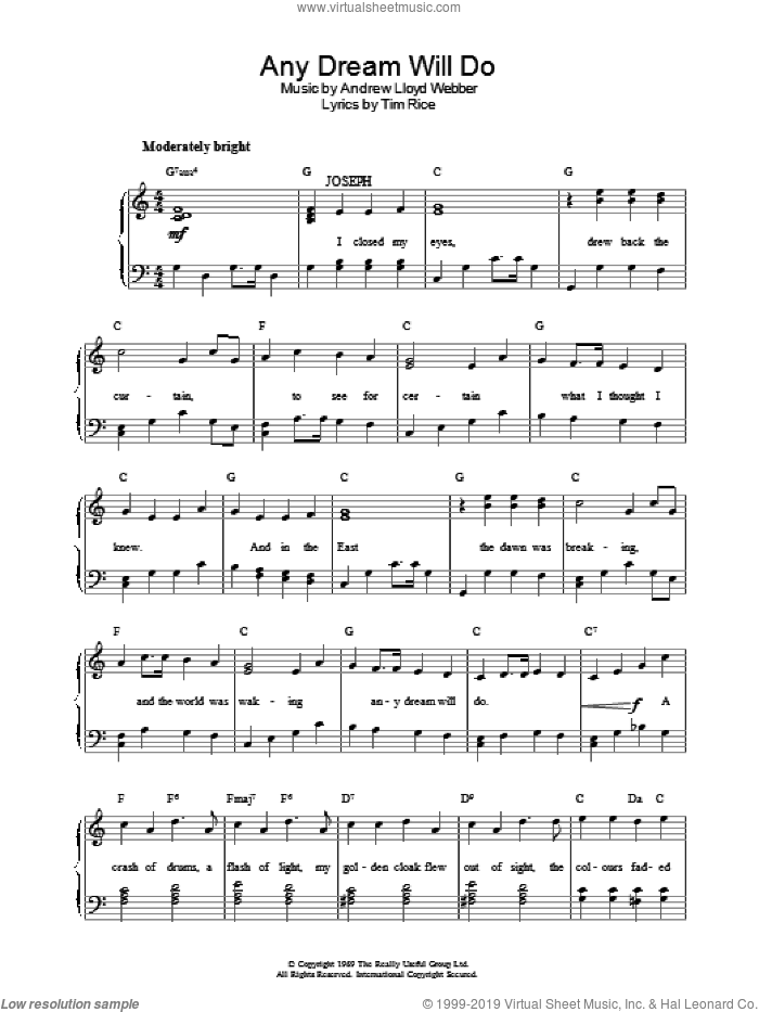 Any Dream Will Do sheet music for piano solo by Andrew Lloyd Webber and Tim Rice, easy skill level
