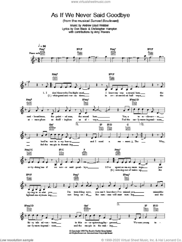 As If We Never Said Goodbye sheet music for voice and other instruments (fake book) by Andrew Lloyd Webber and Don Black. Score Image Preview.