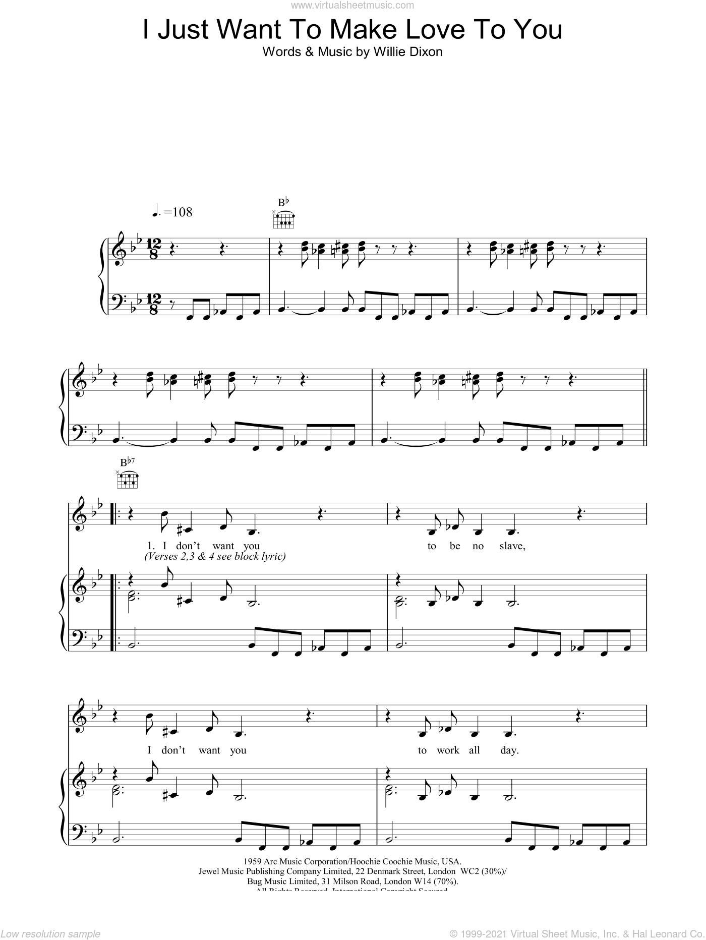 I Just Want To Make Love To You sheet music for voice, piano or guitar by Muddy Waters, Foghat and Willie Dixon. Score Image Preview.