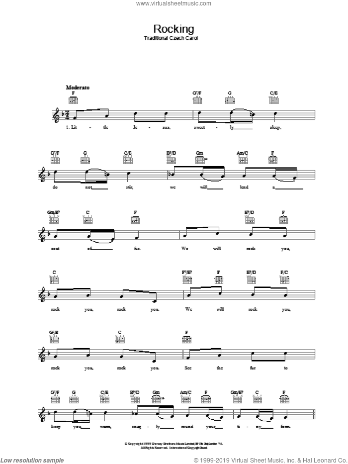 Rocking sheet music for voice and other instruments (fake book). Score Image Preview.