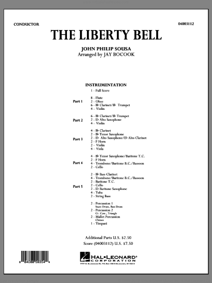 The Liberty Bell (COMPLETE) sheet music for concert band by John Philip Sousa and Jay Bocook, intermediate skill level