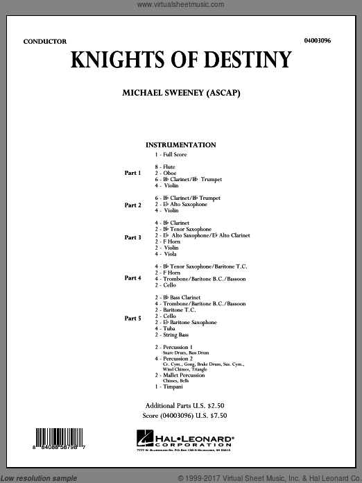 Knights Of Destiny (COMPLETE) sheet music for concert band by Michael Sweeney