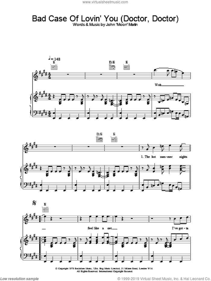 Bad Case Of Lovin' You (Doctor, Doctor) sheet music for voice, piano or guitar by Robert Palmer and John Moon Martin, intermediate skill level