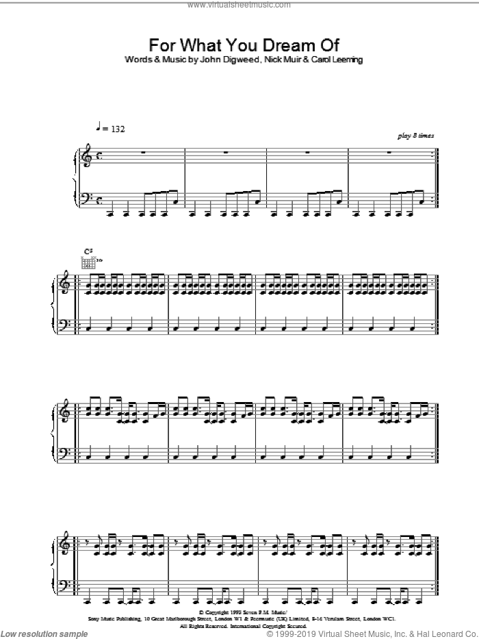 For What You Dream Of sheet music for voice, piano or guitar by Nick Muir