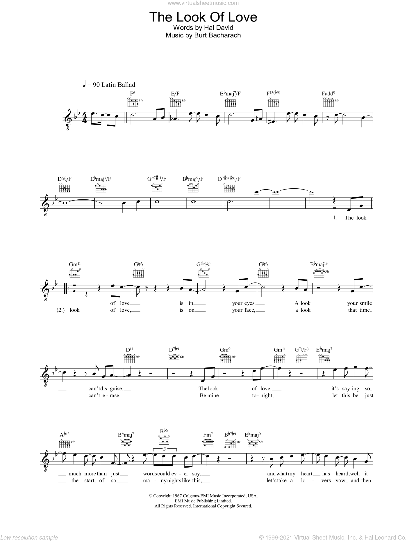The Look Of Love sheet music for voice and other instruments (fake book) by Bacharach & David, Burt Bacharach and Hal David, intermediate. Score Image Preview.