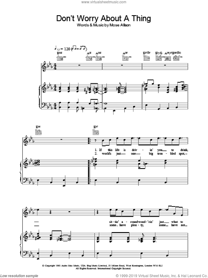 Don't Worry About A Thing sheet music for voice, piano or guitar by Mose Allison and Van Morrison