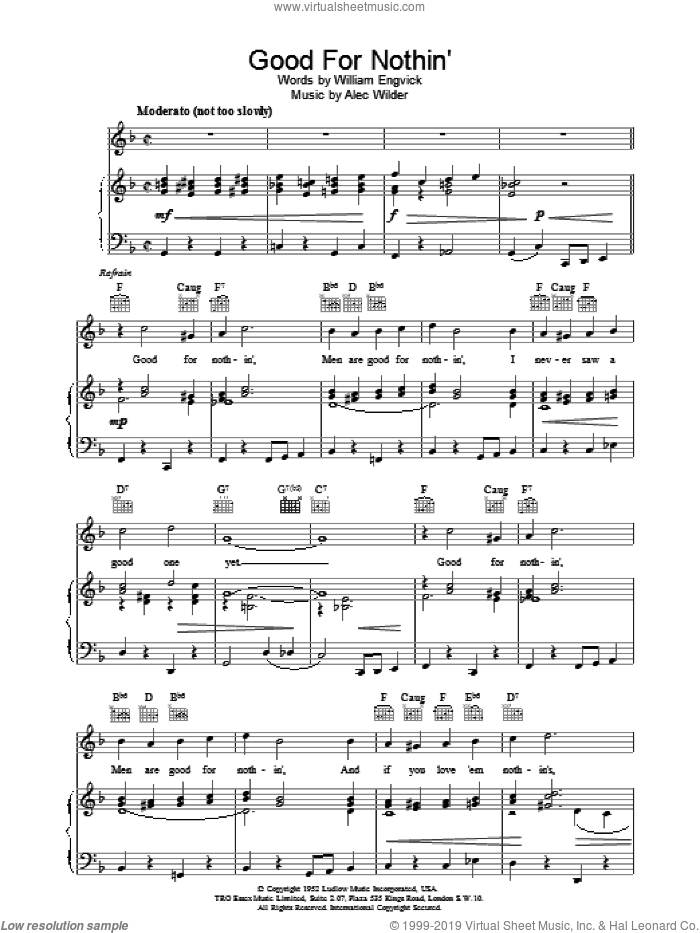 Good For Nothin' sheet music for voice, piano or guitar by William Engvick and Alec Wilder, intermediate