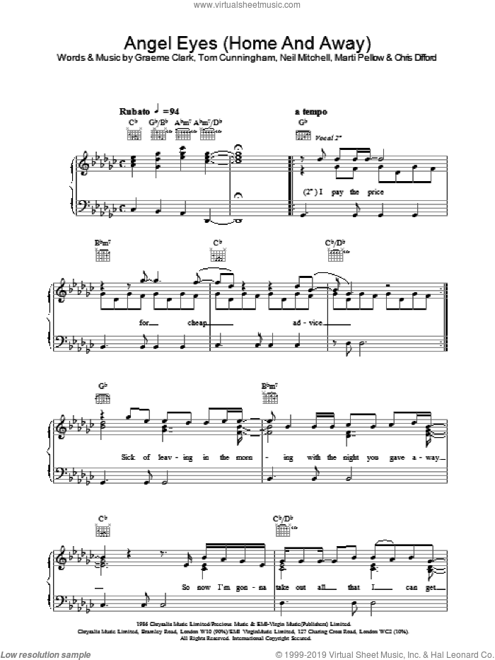 Angel Eyes (Home And Away) sheet music for voice, piano or guitar by Tom Cunningham