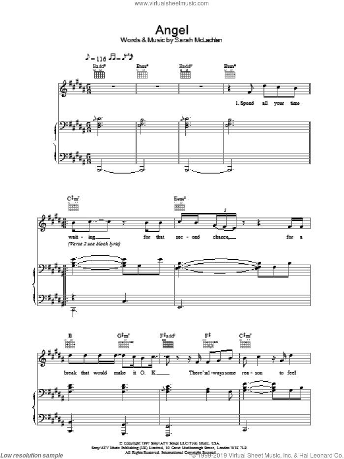 Angel sheet music for voice, piano or guitar by Westlife and Sarah McLachlan, intermediate. Score Image Preview.