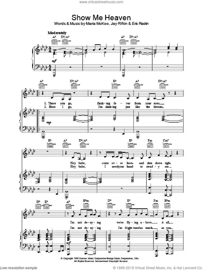 Show Me Heaven sheet music for voice, piano or guitar by Jay Rifkin and Maria McKee. Score Image Preview.