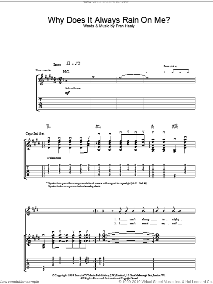 Why Does It Always Rain On Me? sheet music for guitar (tablature) by Merle Travis and FRAN HEALY, intermediate skill level