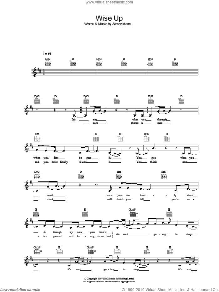 Wise Up sheet music for voice and other instruments (fake book) by Aimee Mann, intermediate skill level