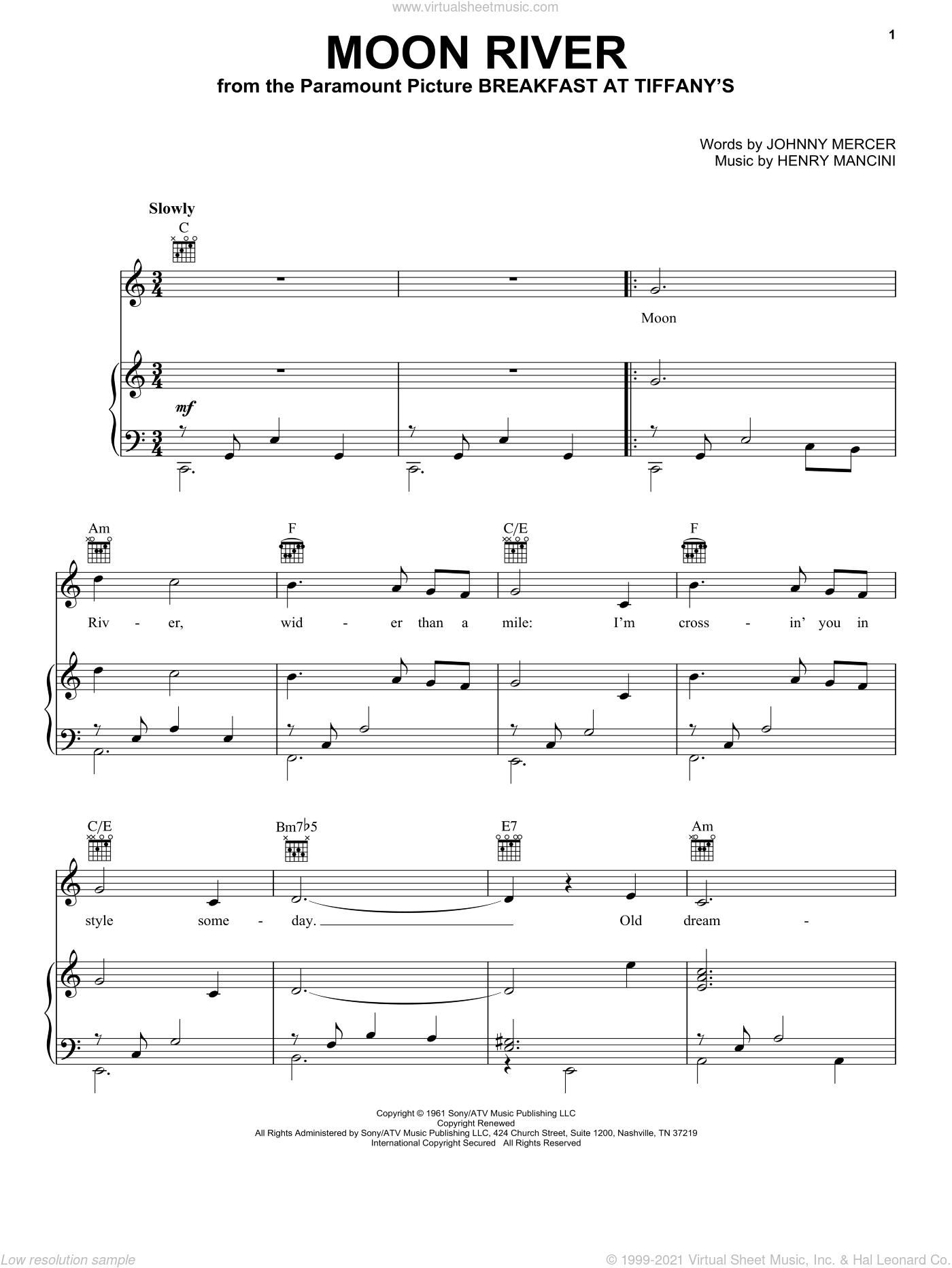 Moon River sheet music for voice, piano or guitar by Andy Williams, Frank Sinatra, Henry Mancini and Johnny Mercer, intermediate skill level