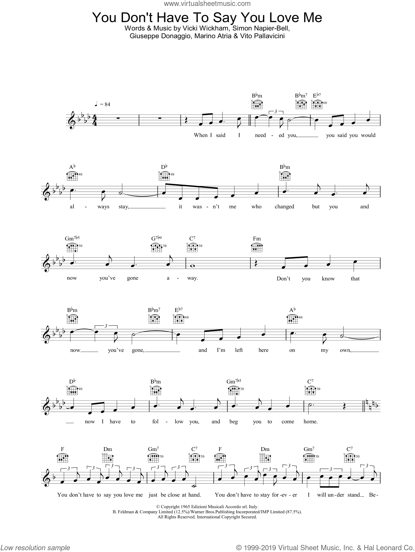 You Don't Have To Say You Love Me sheet music for voice and other instruments (fake book) by Vicki Wickham