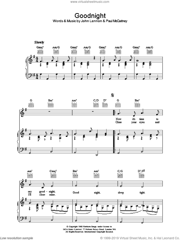 Goodnight sheet music for voice, piano or guitar by The Beatles and John Lennon, intermediate voice, piano or guitar. Score Image Preview.