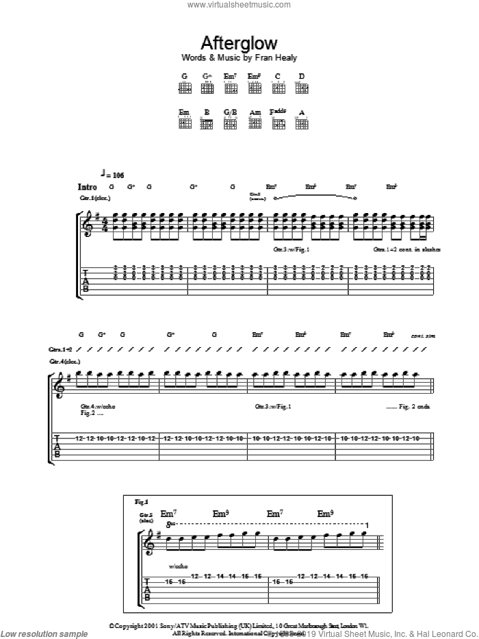 Afterglow sheet music for guitar (tablature) by Fran Healy and Merle Travis. Score Image Preview.