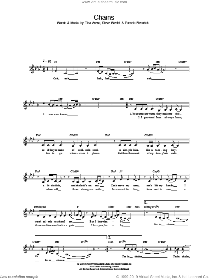 Chains sheet music for voice and other instruments (fake book) by Tina Arena. Score Image Preview.