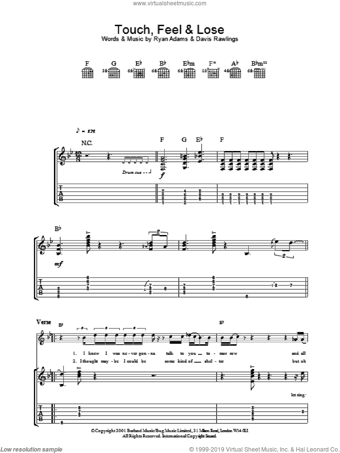 Touch, Feel and Lose sheet music for guitar (tablature) by David Rawlings and Ryan Adams. Score Image Preview.