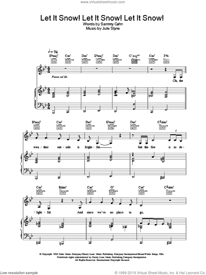 Let It Snow! Let It Snow! Let It Snow! sheet music for voice, piano or guitar by Sammy Cahn and Jule Styne, intermediate skill level