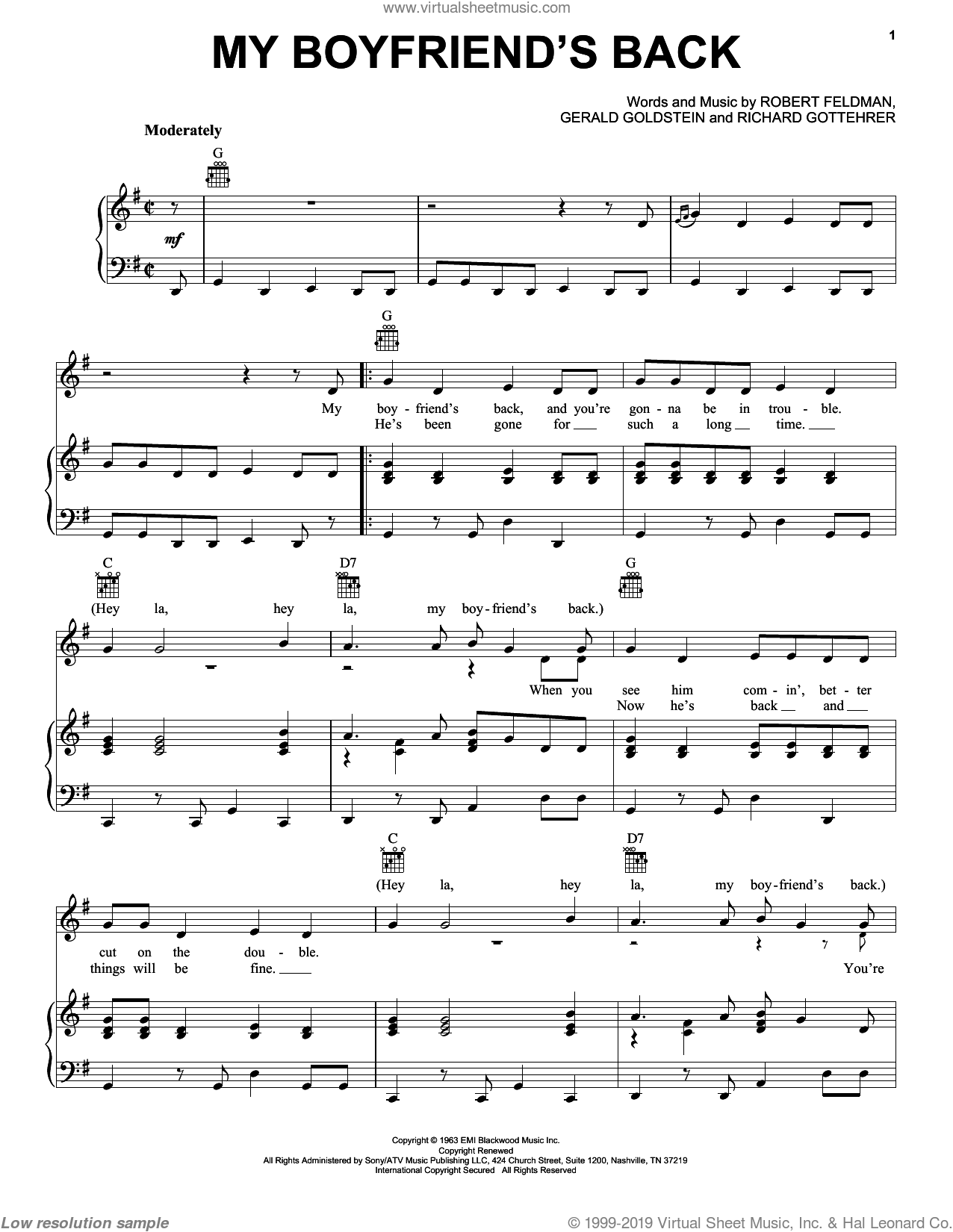 My Boyfriend's Back sheet music for voice, piano or guitar by Bobby Comstock, The Angels, Gerald Goldstein, Richard Gottehrer and Robert Feldman, intermediate skill level