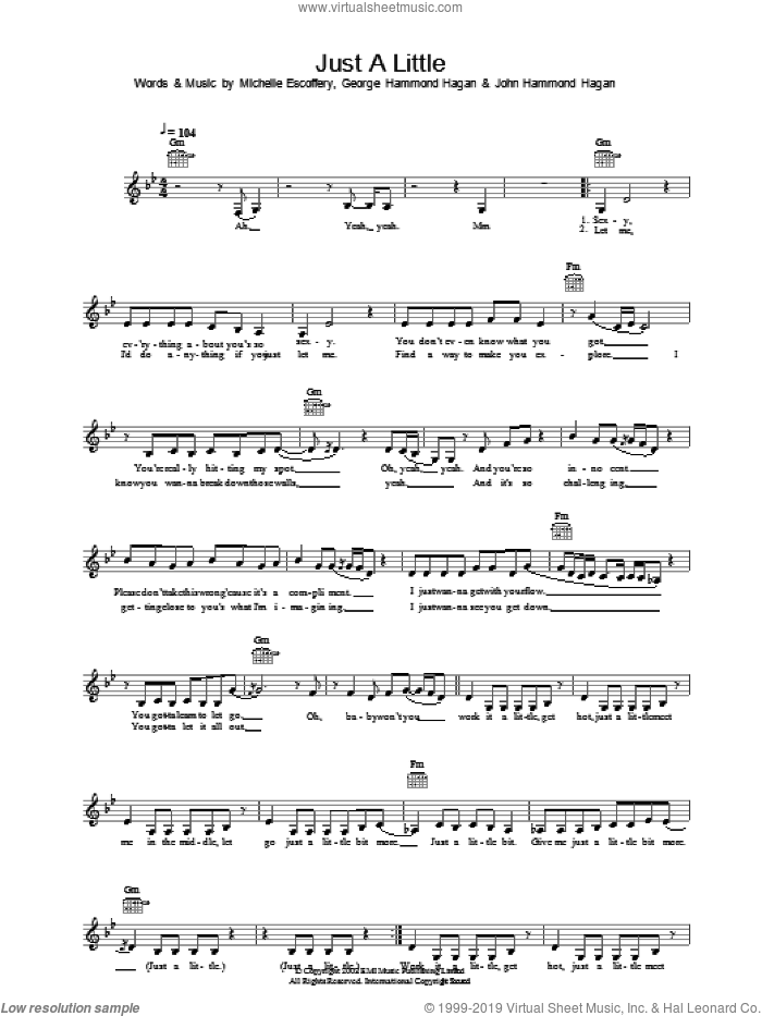 Just A Little sheet music for voice and other instruments (fake book) by Liberty X. Score Image Preview.