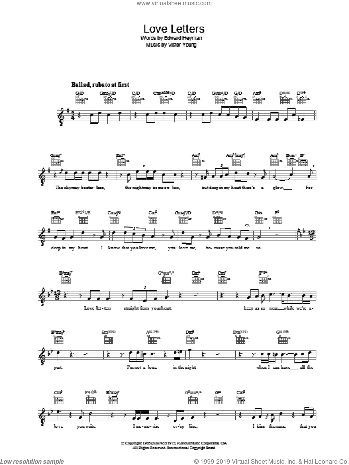 Love Letters sheet music for voice and other instruments (fake book) by Victor Young