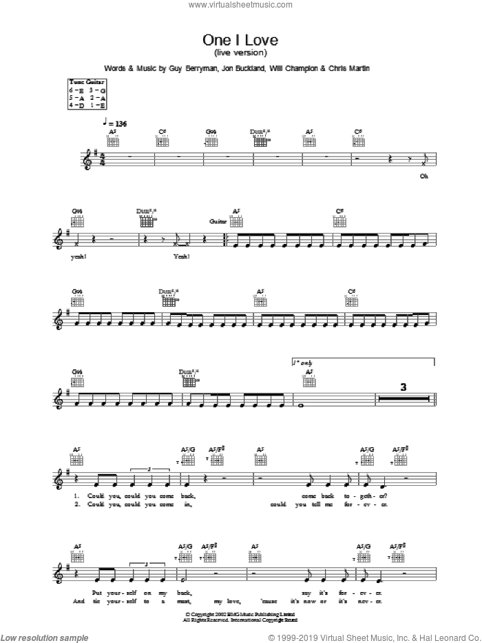 One I Love sheet music for voice and other instruments (fake book) by Guy Berryman, Coldplay, Jon Buckland and Will Champion, intermediate skill level
