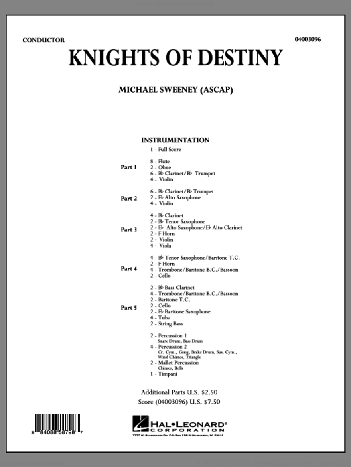 Knights Of Destiny (COMPLETE) sheet music for concert band by Michael Sweeney, intermediate skill level