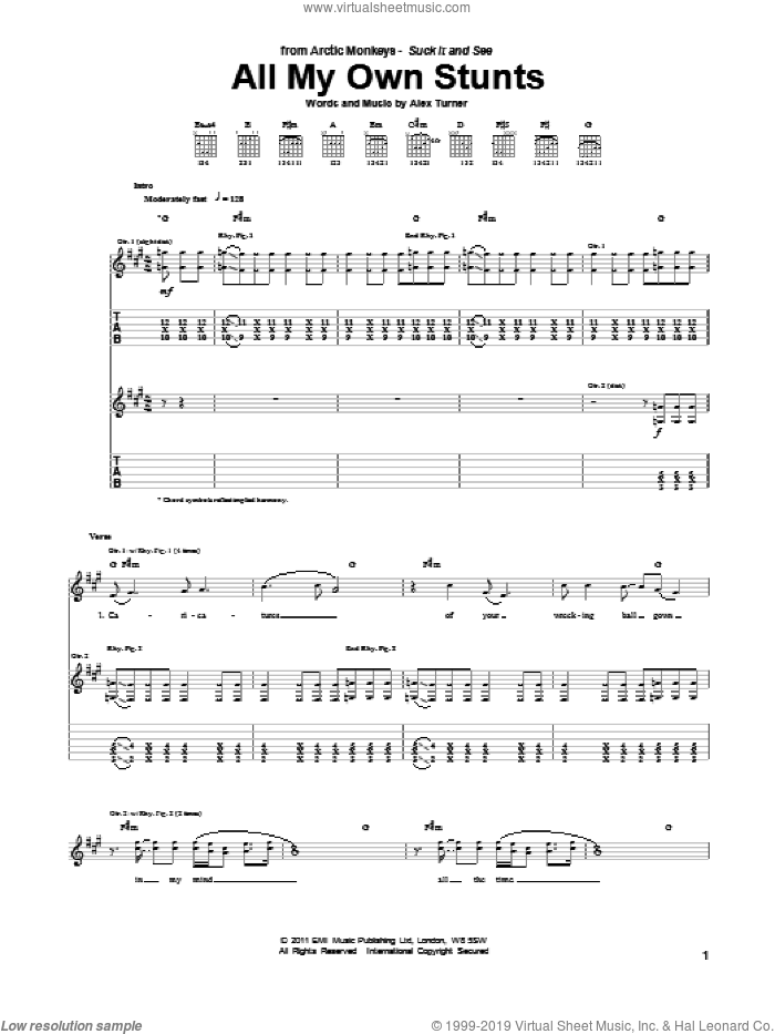 All My Own Stunts sheet music for guitar (tablature) by Alex Turner