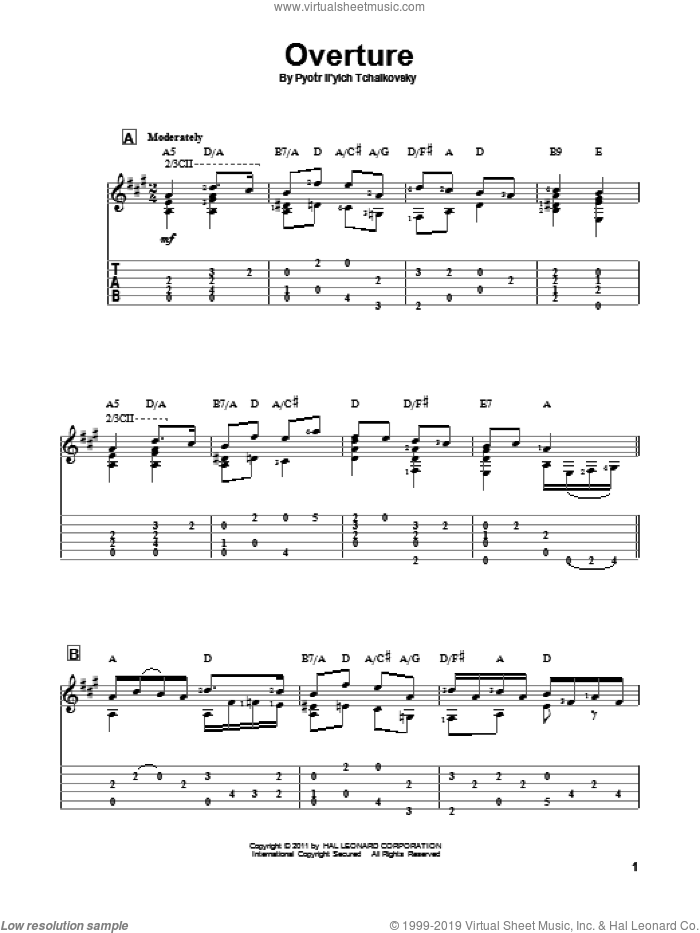Overture sheet music for guitar solo by Pyotr Ilyich Tchaikovsky. Score Image Preview.