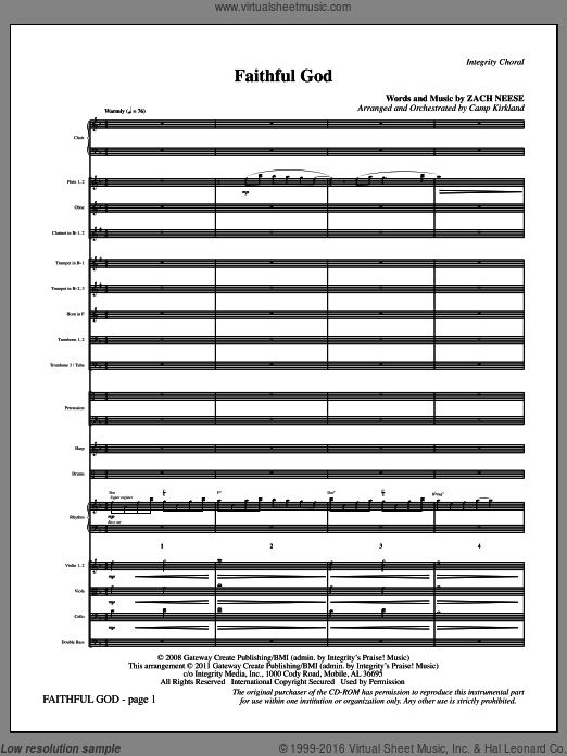 Faithful God (COMPLETE) sheet music for orchestra by Zach Neese and Camp Kirkland. Score Image Preview.