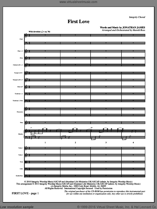 First Love (COMPLETE) sheet music for orchestra by Harold Ross. Score Image Preview.