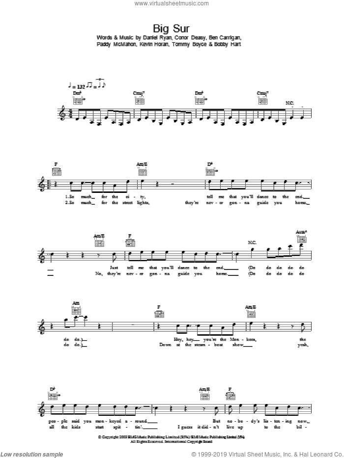 Big Sur sheet music for voice and other instruments (fake book) by Daniel Ryan and The Thrills. Score Image Preview.