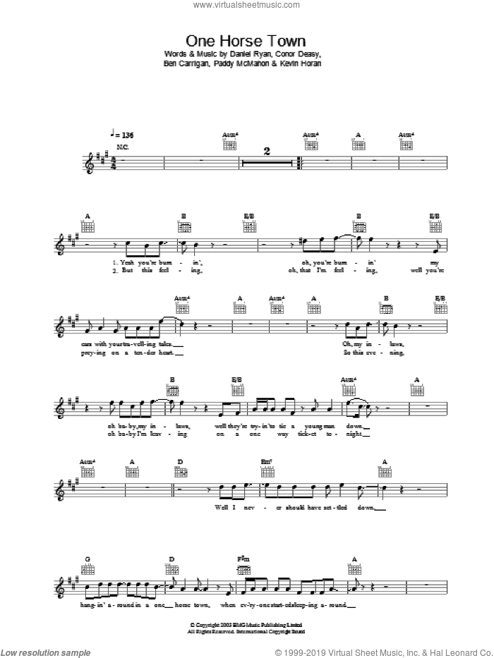 One Horse Town sheet music for voice and other instruments (fake book) by The Thrills, Ben Carrigan, Conor Deasy and Daniel Ryan, intermediate skill level