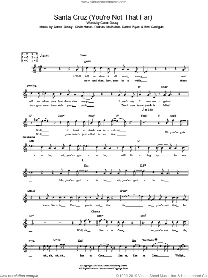 Santa Cruz (You're Not That Far) sheet music for voice and other instruments (fake book) by Padraic McMahon