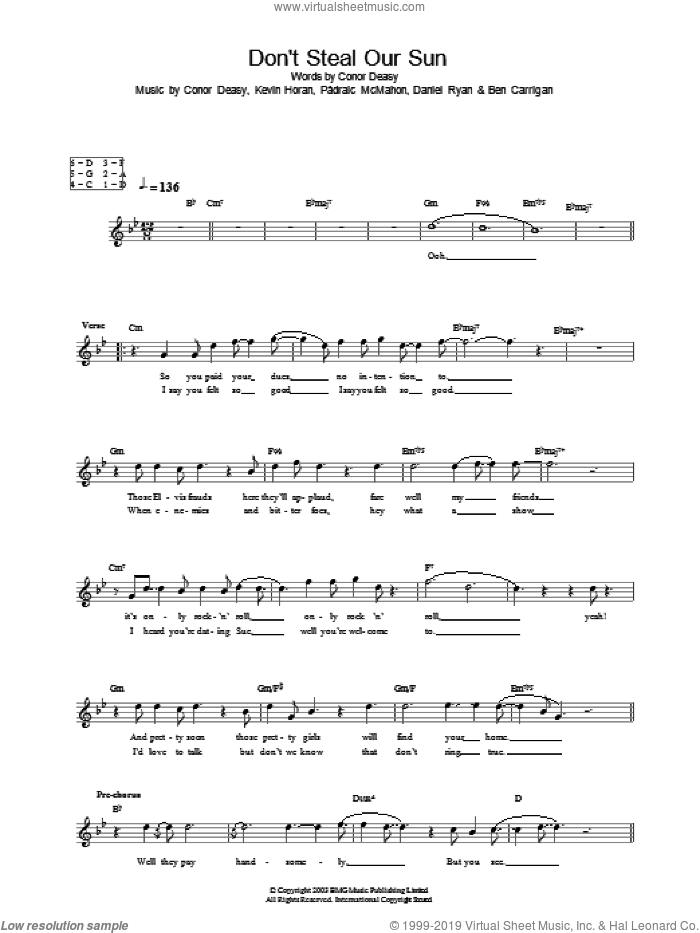 Don't Steal Our Sun sheet music for voice and other instruments (fake book) by The Thrills, Conor Deasy, Kevin Horan and Padraic McMahon, intermediate. Score Image Preview.