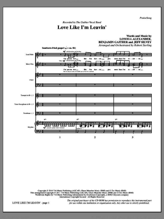 Love Like I'm Leavin' (complete set of parts) sheet music for orchestra/band (Rhythm) by Lowell Alexander, Benjamin Gaither, Jeff Silvey, Robert Sterling and The Gaither Vocal Band, intermediate skill level